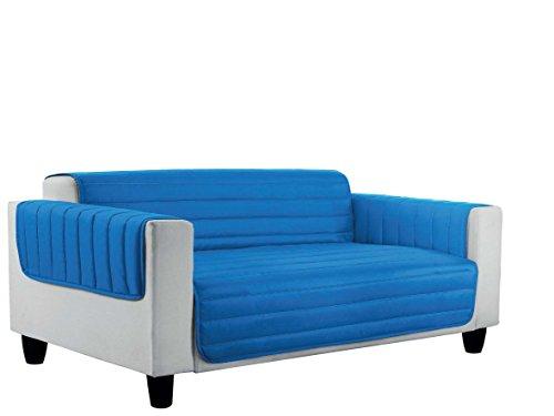 Italian bed linen cd-el-4p copri divano trapuntato in microfibra anallergica, doubleface, grigio chiaro/royal, 4 posti