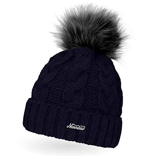 Neverless Damen Strick-Mütze gefüttert mit Fell-Bommel, Kunstfell, Winter-Mütze, Bommelmütze, Navy Unisize
