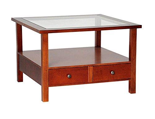 Legno&Design Table Basse Bois Massif avec 2 tiroirs et étagère en Verre Color Noyer