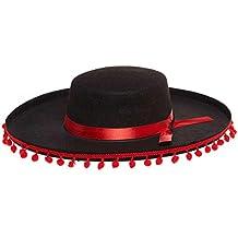 Sombrero negro fieltro español Seville a Pompom rojo toro corrida Torero