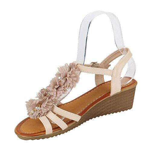 Damen Keilsandaletten Glitzer | Sandaletten Denim Bast Leder-Optik | Blumen Keilabsatz Sandalen | Metallic Wedges Strass Creme Blumen Camiri