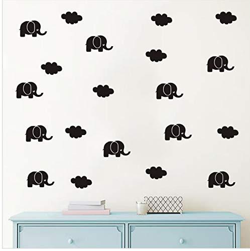 Dibujos Animados Lindos Elefantes Y Nubes DIY Sticker Tatuajes De Pared del...