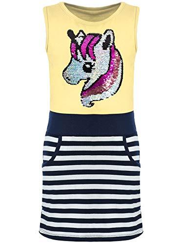 Kmisso Mädchen Sommer-Kleider Kinder Wende-Pailletten Kleid Ärmellos Einhorn 30027 Gelb 152 (Lange Gelbe Rock Für Kinder)