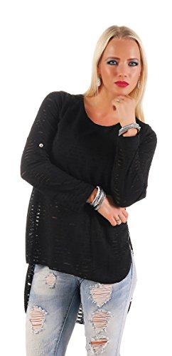 Mr. Shine® – Damen Langarm Bluse Hemd Shirt Oversize Sweatshirt Oberteil Tops Größe S, M, L, XL, XXL, XXXL (XXL, Schwarz)