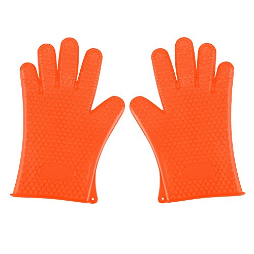 SHiZAK 2pcs Kitchen Silicone Heat Resistant BBQ Oven Gloves or Grill Pot Holder for Cooking Barbecue Grilling Boiling - Excellent Oven Mitts For Outdoor and Kitchen Use (Orange)