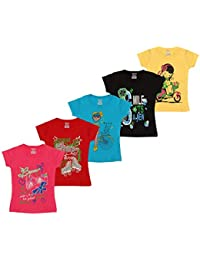 Kiddeo Girls Half Sleeve t Shirts (Pack of 5)