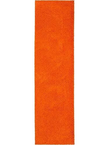 Benuta Hochflorteppich Swirls Shaggy Langflor Orange 80x300 cm Kunstfaser