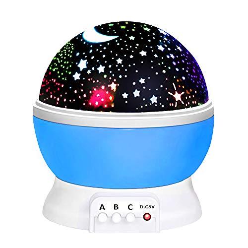 (DMbaby Geschenke für 2-8 jährige Jungen, Sternennachtlichtprojektor 360-Grad Weihnachten Spielzeug 2-8 Junge Spielzeug für 2-8 Jährige Jungen Party Geschenke Kinder Blau NL01)