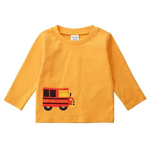 QSEFT Kinder Langarm-Shirt Langarm-Baumwollhemd Baumwolle Frühling und Herbst Langarm-Shirt Einfach,Yellow,80Cm