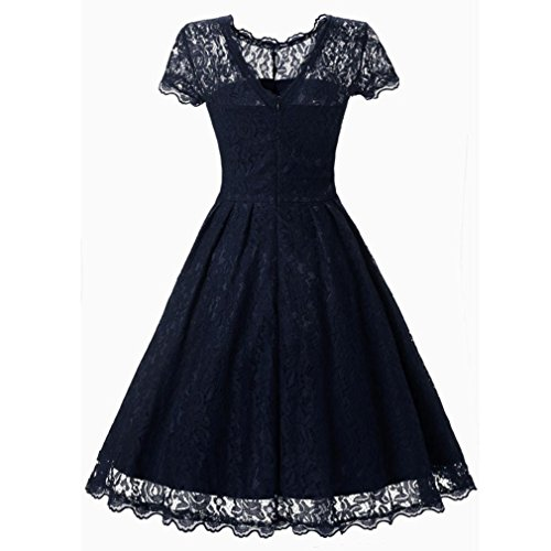 Bodycon Kleid Damen, Sunday Frauen Blumenspitze Kurzschluss Hülsen Weinlese Damen Party Swing Bridesmaid Dress Elegant Lange Spitze Sommer Frühling Kleid (Navy, M) (Rüschen-hals-strickjacke)