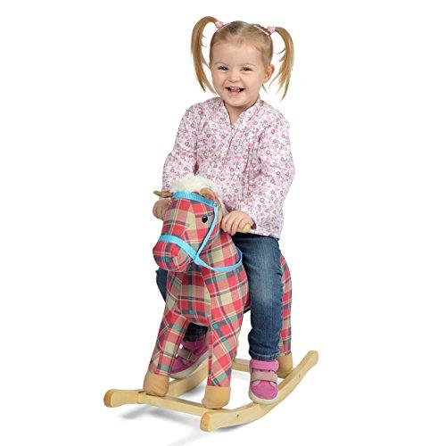 Pink Papaya Schaukelpferd Jumper, Kinder und Baby Schaukeltier mit Sound, Kopfhöhe 55 cm, Sitzhöhe ca. 40 cm, Farbe: rot-blau kariert (Baby Pferd Jumper)