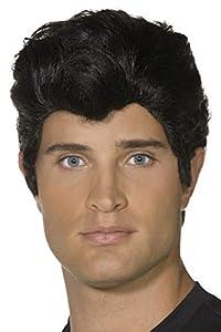 Smiffys-42099 Licenciado oficialmente Peluca de Danny de Grease, color negro, Tamaño único (Smiffy