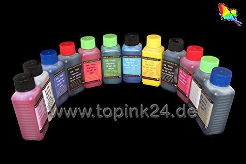 12x 500ml 12x Nachfüll Pigment UV Tinte Nachfülltinte Druckertinte Ink für Druckerpatronen HP70 HP 70 H73 HP 73 Nachfülltinte Druckertinte kompatibel zu HP Designjet Z3100 Z3200 12 Color -