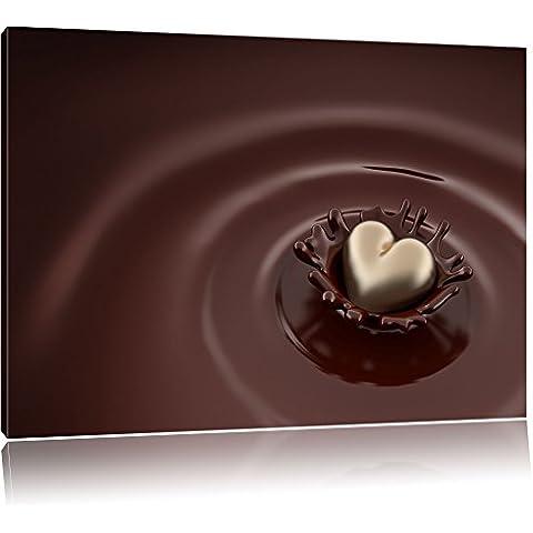 Cuore di cioccolato al latte cioccolato cuore di cioccolato bianco su tela, Immagini XXL completamente incorniciati con telai di grandi dimensioni cuneo. Stampa artistica su quadro a parete con cornice. Più economico di pittura o di un dip, Leinwand Format:60x40 cm
