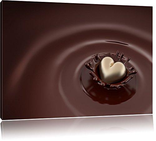 Cuore di cioccolato al latte cioccolato cuore di cioccolato bianco su tela, Immagini XXL completamente incorniciati con telai di grandi dimensioni cuneo. Stampa artistica su quadro a parete con cornice. Più economico di pittura o di un dip, Leinwand Format:100x70 cm