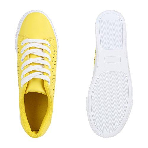 Damen Sneakers Sportschuhe Freizeit Schuhe Schnürer Gelb