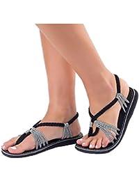 OHQ Sandalias Romanas De Playa con Trenzas Cruzadas para Mujer Sandalias Zapatillas De Verano Zapatillas Moda