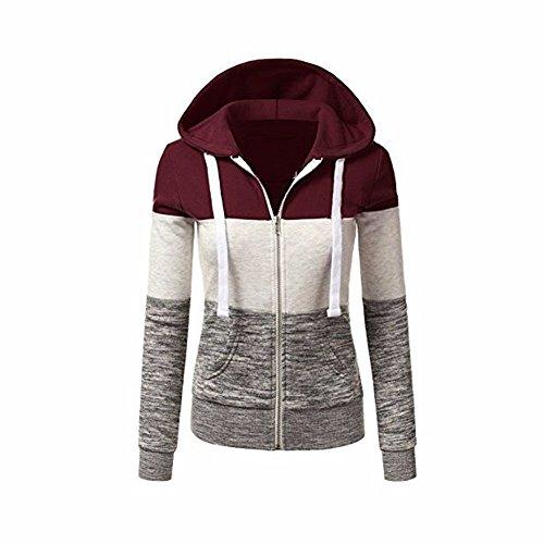 Newbestyle Jacke Damen Kapuzenpullover Strickjacke Pullover Sweatshirt Hoodies Kontrastfarbe Pulli Weinrot Small College Hoodie Sweatshirt