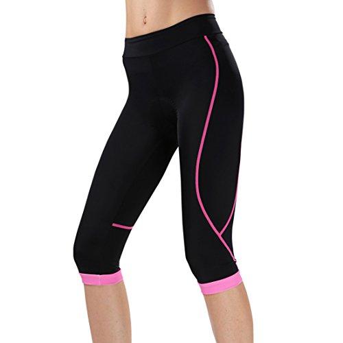 GWELL Damen Fahrradhose Radlerhose mit Sitzpolster Radhose 3/4 Komfort Slim Fit rosa L