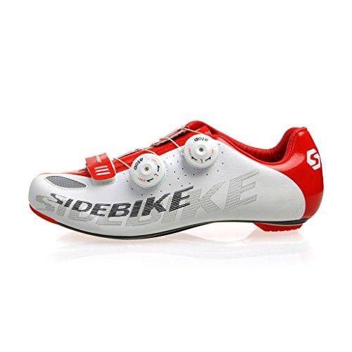 Carbonio Ciclismo Scarpe Bianco Rosso Misure EU 43/UK 9Nuovo