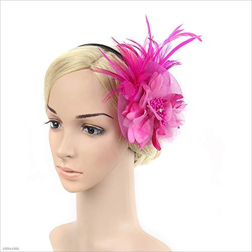 Gib niemals auf Damen, Damen, Haare, Stirnband, Blume, Cocktail, Kopf, dekorative Accessoires, Party (Farbe : Rose Rot)