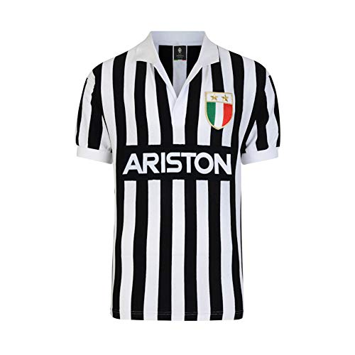 ScoreDraw Juventus Turin Retro Trikot Ariston 1984 weiß-schwarz, M