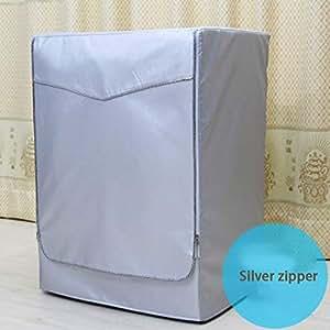 Behavetw lavatrice copertura impermeabile Oxford panno antipolvere schermo di protezione solare anti-aging durevole per carico frontale lavatrice e asciugatrice, Silver Edge Zip, small