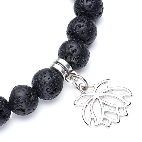 Jovivi 8mm-7 Chakra Pierres Naturelles Pierres Volcaniques Lave Perles d'Energie Bracelet Extensible Elastique Tibetain Bouddhiste avec Pendentif Arbre de la Vie/Lotus/Symbole OM Lotus