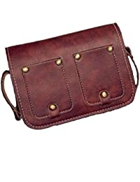 Women Vintage Small Rivet Sling Bag With Cute Pockets Crossbody Bag PU Leather (Dark Brown)