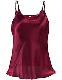 Sourcingmap Women Plain Slim Fit Spagetti Straps Satin Cami Tank Tops