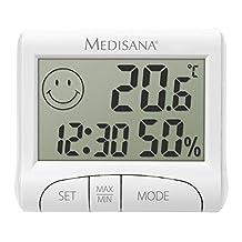 medisana HG 100, digitale hygrometer voor binnengebruik, thermometer met vochtigheid, kamertemperatuur, tijd, weergave van de luchtbevochtiging binnenshuis