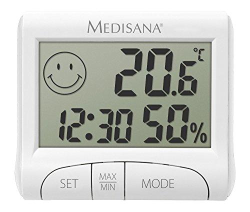 Medisana Digitales Thermo-/ Hygrometer HG 100 (Anzeige von Luftfeuchtigkeit, Raumtemperatur, Uhrzeit, Komfortzonen - Indikator, Anzeige der Luftbefeuchtung in Innenräumen) 60079