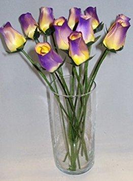 2Dutzend (24) handgefertigt Birke Holz geschlossen Tee bud Rosen für Hochzeiten, Party, Gastgeschenken alle Anlass, Home Decor (Pflaume/Gelb)