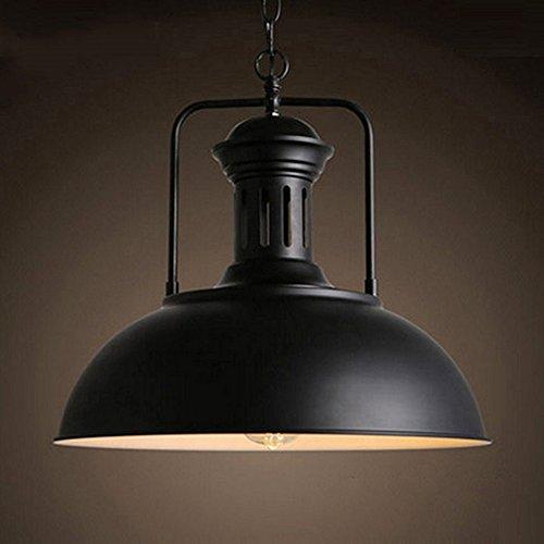 Hängeleuchte Metall Malerei Kronleuchter Vintage Antik Deckenleuchte EDISON Durchmesser 40 cm kabelgebunden Lampenschirm Schwarz (Anhänger Schüssel Schwarze)