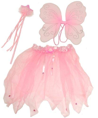 Cute Pink Fairy set , Comprising Wings, Wand and Tutu, Ideal Dressing up , Fancy Dress. Fairy ()
