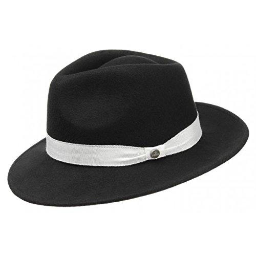 Lierys Corleone Filzhut für Damen Herren Pimp Hut mit Ripsband, mit Ripsband Winter Sommer (M (56-57 cm) - schwarz)