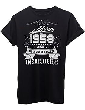 iMage Shirt Compleanno Nato A Marzo del 1958-60 Anni per Essere Incredibile - Eventi - Maglietta