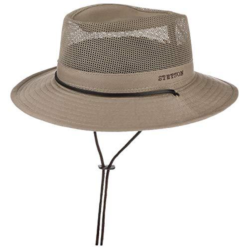 Stetson Takani Safarihut Damen/Herren | Hut aus 100% Baumwolle | Stoffhut mit UV-Schutz 30 | Sonnenhut mit Kinnband | Knautschbarer Netzeinsatz | Traveller beige L (58-59 cm)