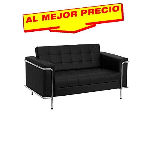 SOFA SIMILPIEL MODELO LEEDS 2 PLAZAS BASE ACERO INOXIDABLE  SIMILPIEL NEGRA- ESPECIAL SOFA 2 PLAZAS-¡AL MEJOR PRECIO!