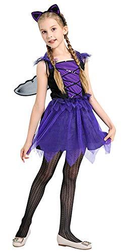 Cloud Kids Mädchen Bat Kostüm mit Flügel und Haarreife Halloween Feen Prinzess Kleider Tierkostüme Lila Körpergröße 110-120cm (Tanzabend Kostüm Kid)