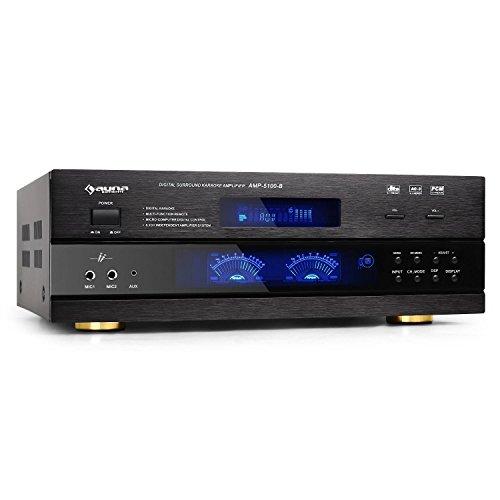 auna AMP-5100 • 5.1-Kanal Verstärker • 5.1 Surround Receiver • HiFi-Endstufe • 320 Watt RMS • für Heimkino-, HiFi- & Karaokeanlagen • Fernbedienung • schwarz