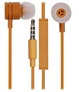 Jkobi 3.5mm In Ear Bud Handsfree Headset Earphones With Mic Compatible For Xolo Era 1X -Gold