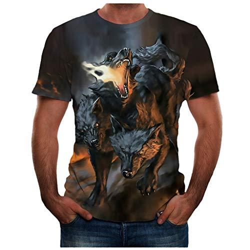 BHYDRY Männer Sommer Neue volle 3D gedruckte T-Shirt Plus Größe S-3XL Cool Printing Top Bluse(Small,Grau