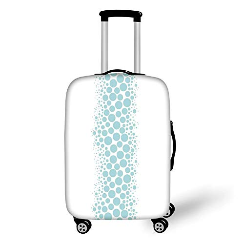 Travel Luggage Cover Suitcase Protector,Under The Sea,Ocean Dive Inspired Image with Circle and Geometric Bubbles Art Print Decorative,Sky Blue and White,for Travel,L -