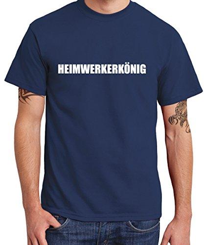 ::: HEIMWERKERKÖNIG ::: T-Shirt Herren Navy mit weißem Aufdruck
