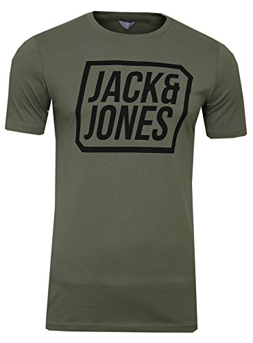 Jack & Jones Herren T-Shirt jcoFRIDAY Logoprint Rundhals Shirt Kurzarm Basic Shirt Crew Neck (Grün (Dusty Olive Fit:Slim), XL)