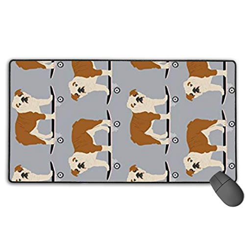 English Bulldog Skateboard Boys Custom Mouse Pad,Large Gaming Mouse Pad,Extended Mousepad with Durable Stitched Edges,Computer Keyboard, PC and Laptop