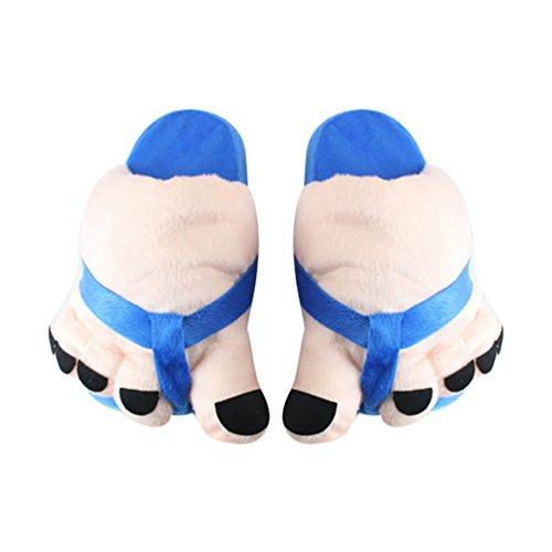 Hiver YOUJIA Chaussure Bleu Souple Chaud Chausson Fourré Peluche Pantoufle Femme Fantaisie Adulte 36 dinterieur Rigolo 38 en Taille fwnqfxr7TO