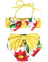 Chinatera Baby Girl's Two Pieces Floral Bow Knot Bikini Swimsuit Bathing Swimwear Suit Outfit Set