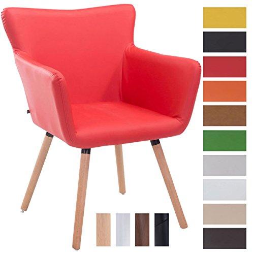 Clp sedia visitatore design antwerpen, similpelle - poltroncina rétro con schienale e braccioli imbottiti i sedia soggiorno in legno, facile da pulire, portata max 160kg rosso colore base: natura